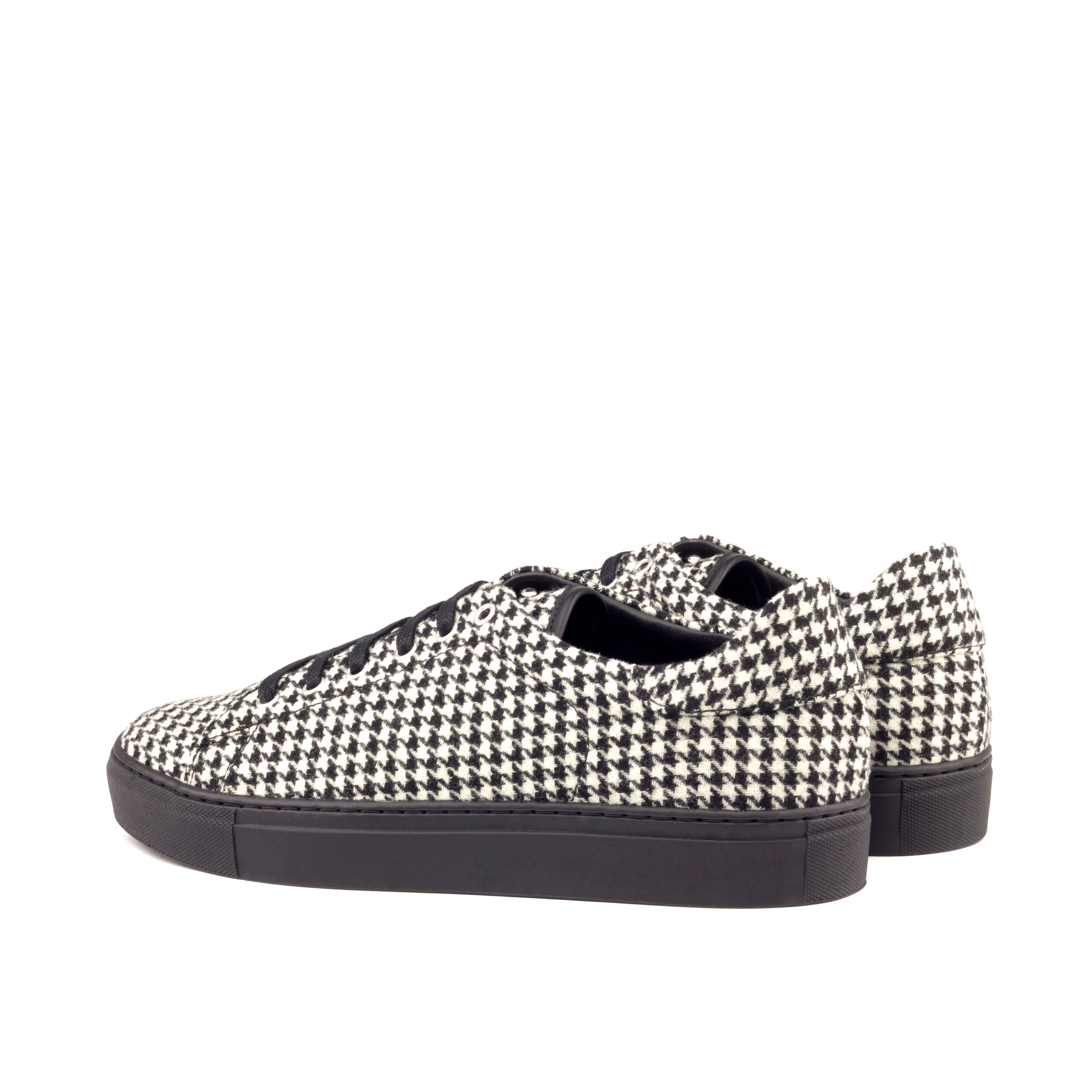 MANOR OF LONDON'The Perry' Houndstooth Tennis Trainer Luxury Custom Initials Monogrammed Back Side View