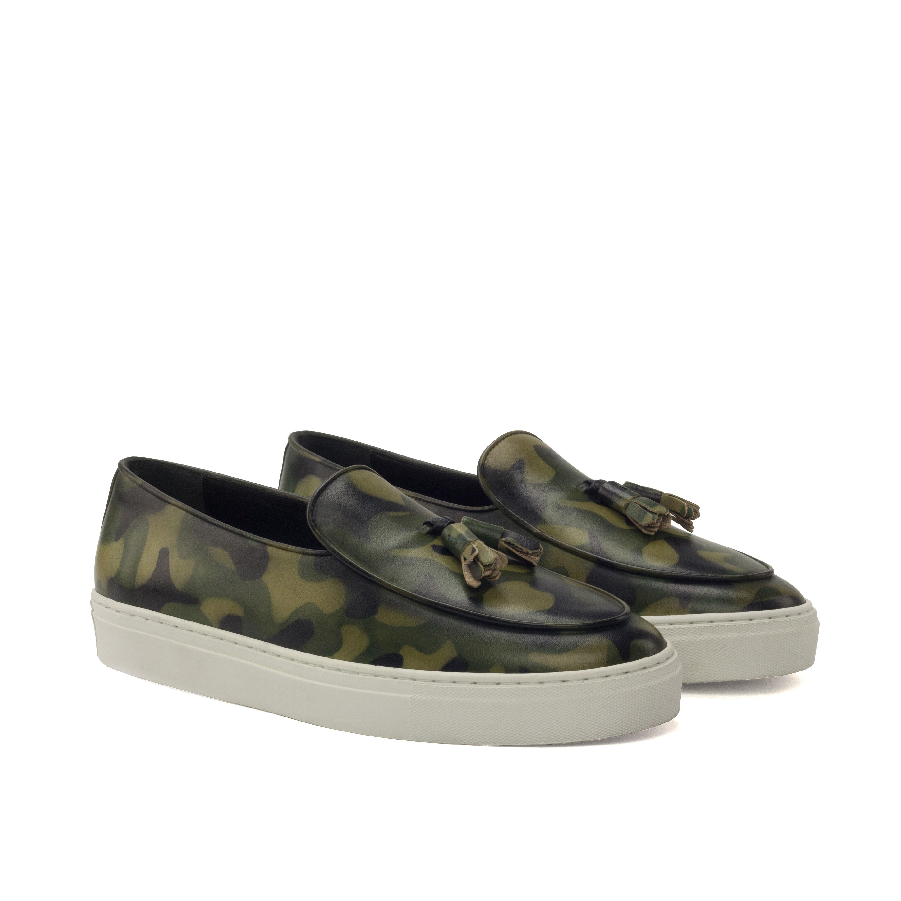 Manor of London 'The Dandy' Khaki Camo Patina Belgian Trainer Luxury Custom Initials Monogrammed Front Side View