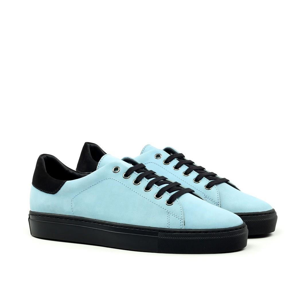 MANOR OF LONDON 'The Perry' Sky Blue & Black Nubuck Tennis Trainer Luxury Custom Initials Monogrammed Front Side View