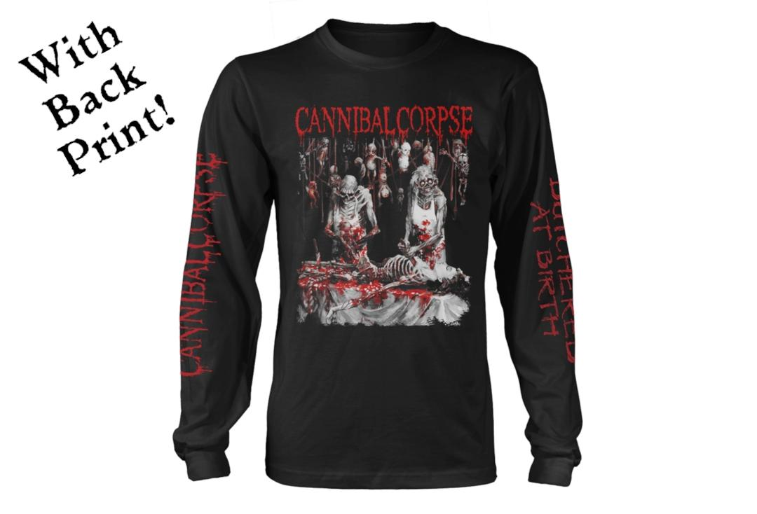Official Band Merch | Cannibal Corpse - Butchered At Birth Men's Official Long Sleeve T-Shirt - Front