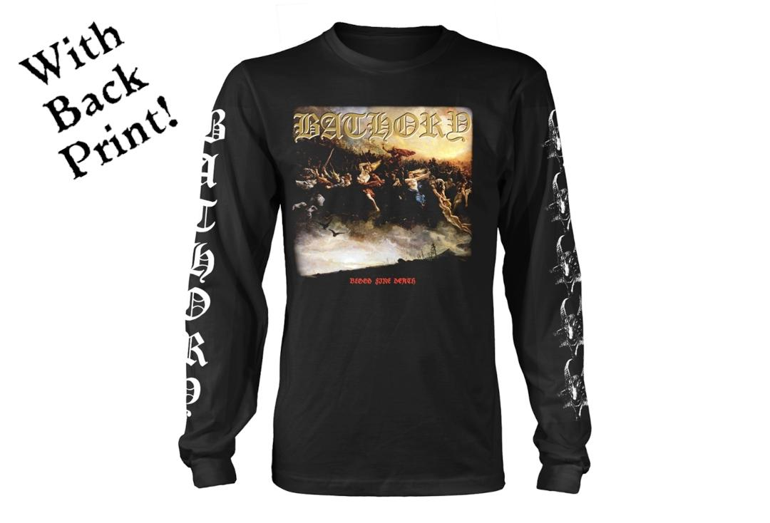 Official Band Merch | Bathory - Blood Fire Death v2 Men's Official Long Sleeve T-Shirt - Front