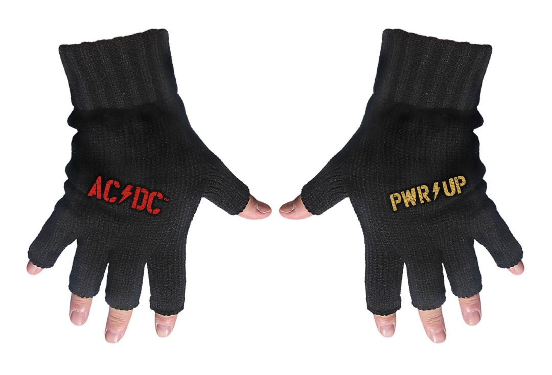 Official Band Merch | AC/DC - PWR UP Logo Embroidered Knitted Finger-less Gloves