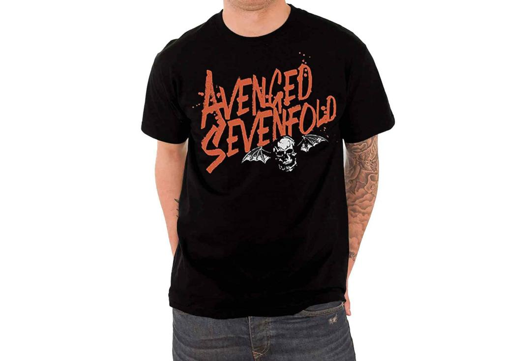 Official Band Merch | Avenged Sevenfold - Orange Splatter Death Bat Logo Official Men's Short Sleeve T-Shirt