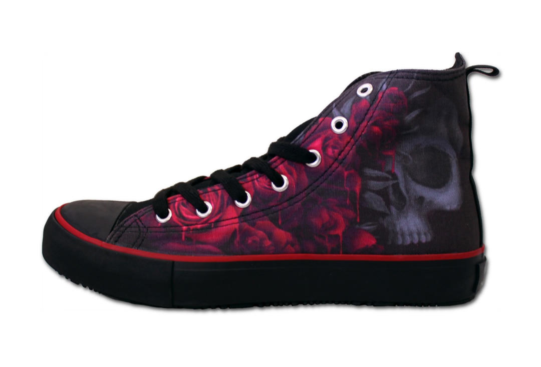 Spiral Direct | Blood Rose Women's Lace Up High Top Sneakers - Side View