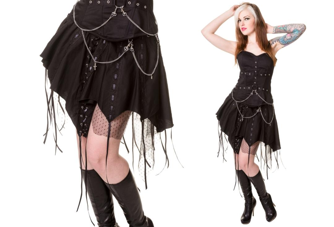Dead Threads | Chain & Black Ribbon 1161 Goth Point Skirt