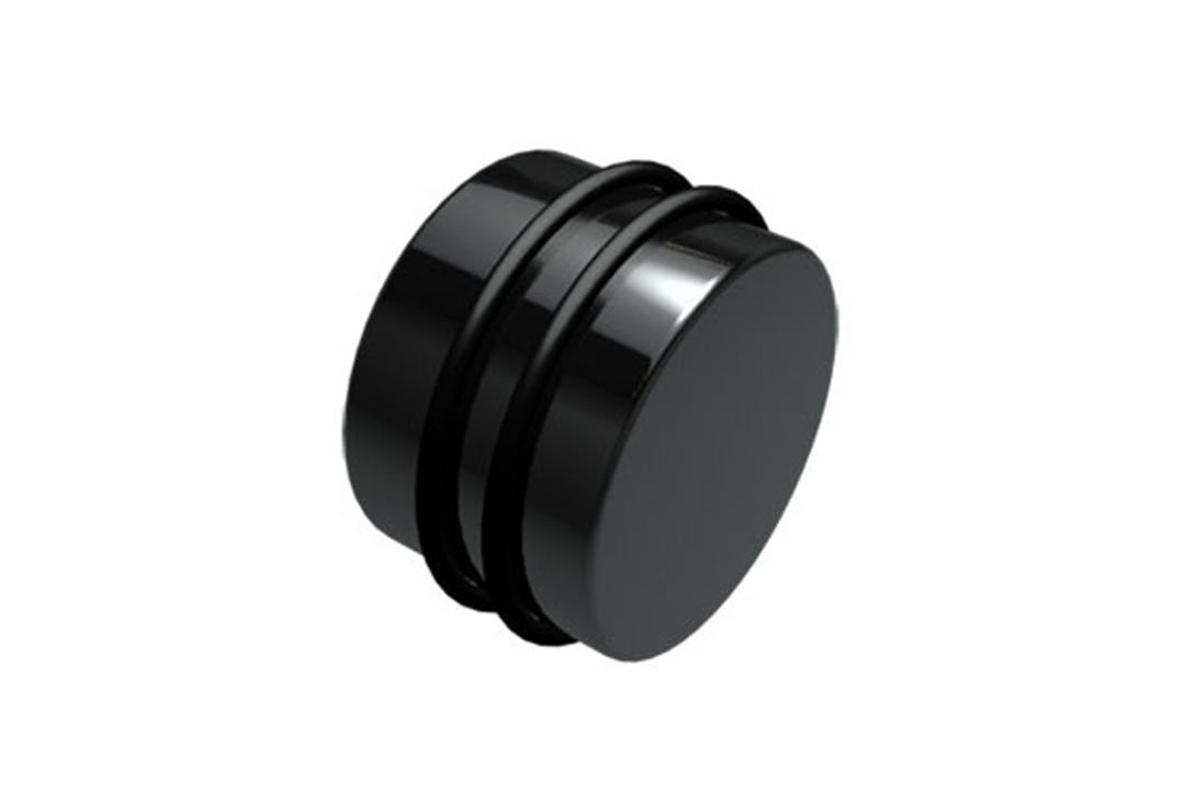 Body Jewellery | Black Acrylic Silicone Banded Plug - 3mm to 30mm