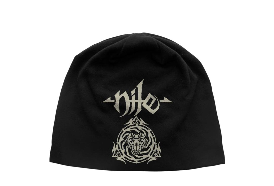 Official Band Merch | Nile - Logo & Scarab Discharge Printed Jersey Beanie