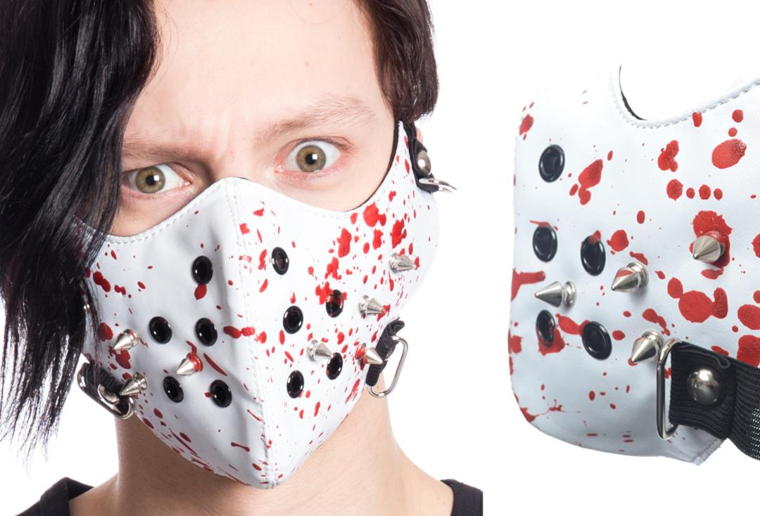 Poizen Industries | Spike White Blood Splattered Face Mask -  Front