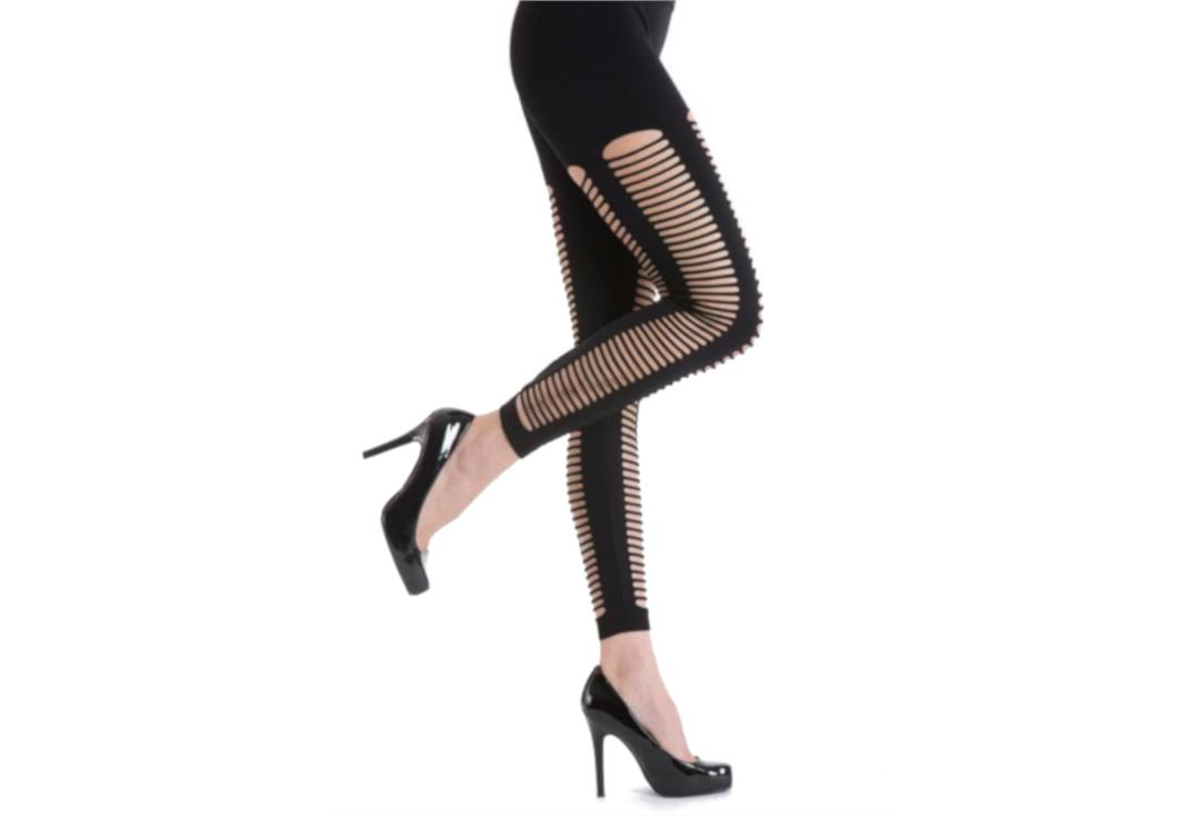 Silky | Diced Black Slashed Leggings - Side