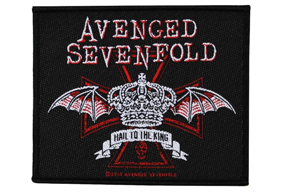 Official Band Merch | Avenged Sevenfold - Hail To The King Red Crown Woven Patch