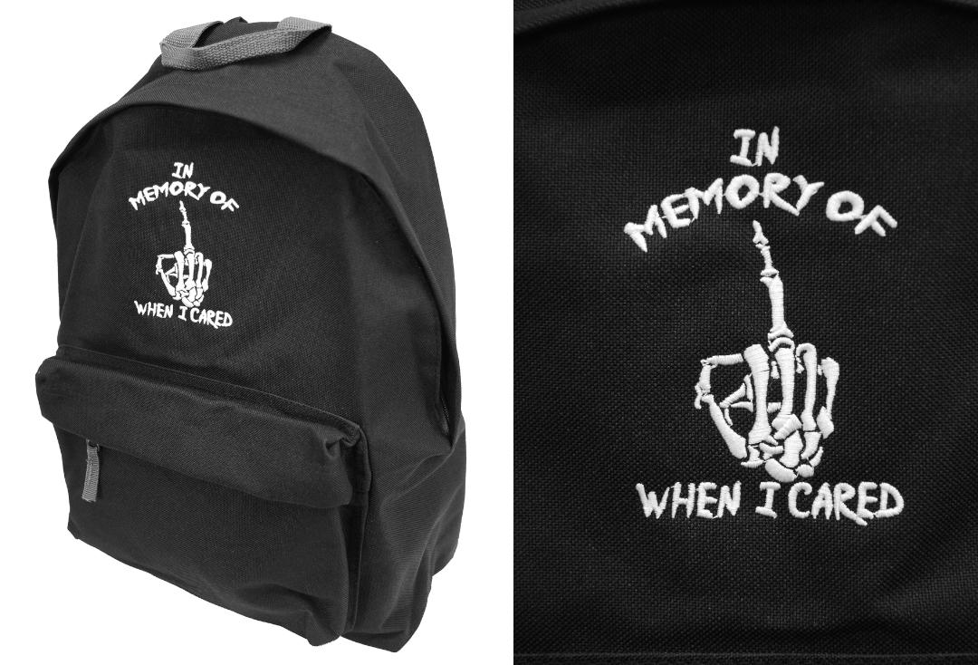 Darkside Clothing | In Memory Of When I Cared Embroidered Backpack - Front View