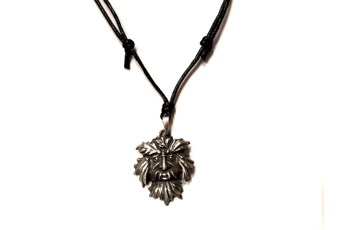 Void Clothing | Green Man Pewter Pendant - Close Up