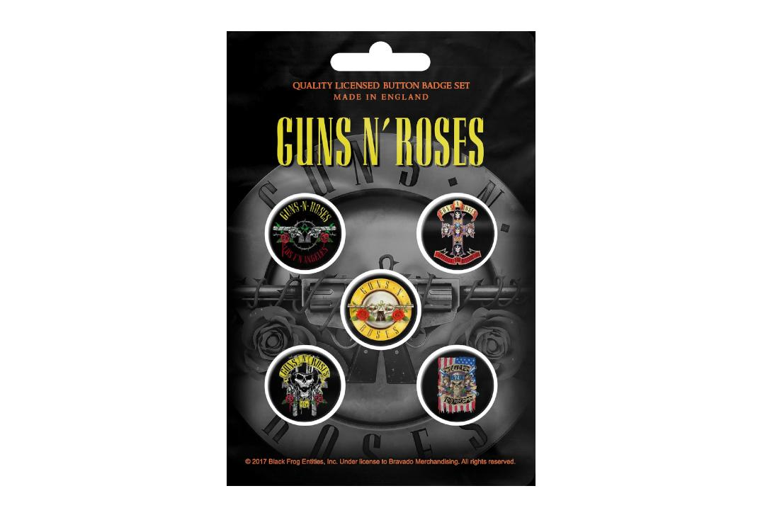 Official Band Merch | Guns N' Roses - Bullet Logo Button Badge Pack
