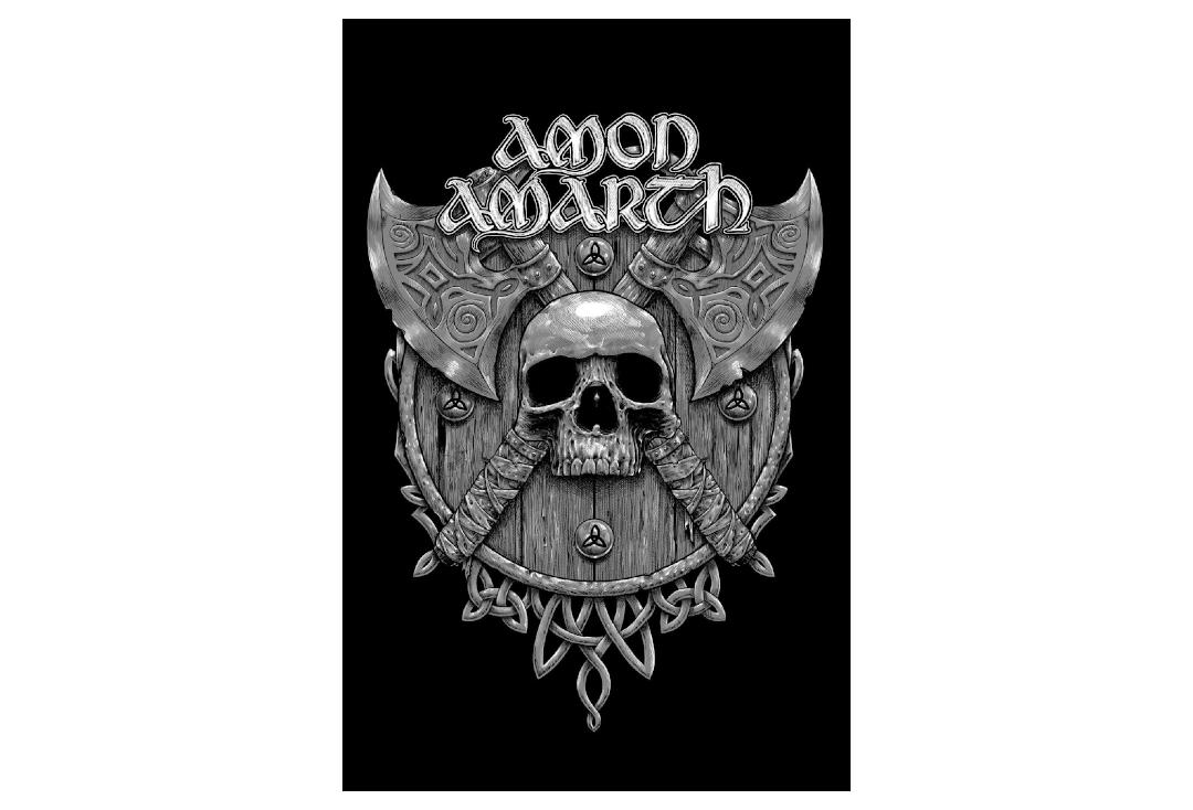 Official Band Merch | Amon Amarth - Skull & Axes Printed Textile Poster