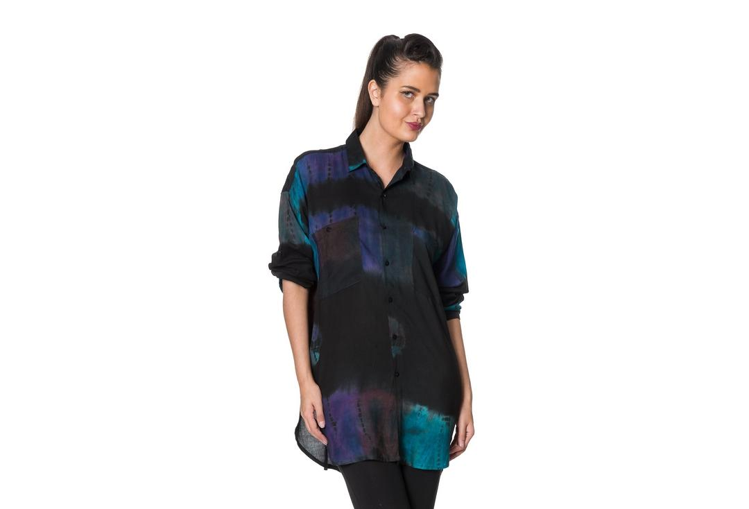 Void Clothing | Oil Slick Tie Dye Shirt - Front