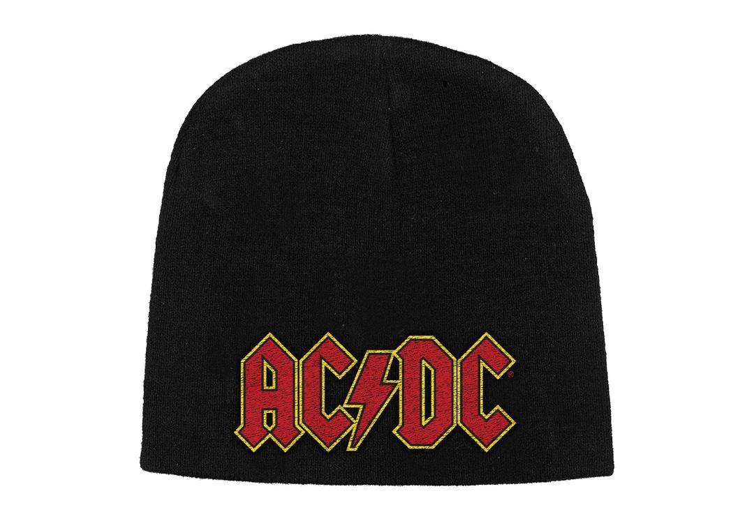 Official Band Merch | AC/DC - Red Logo Embroidered Knitted Beanie Hat
