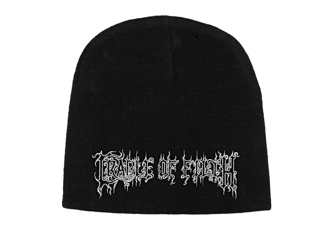 Official Band Merch | Cradle Of Filth - White Logo Embroidered Official Knitted Beanie Hat