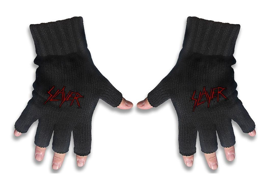 Official Band Merch | Slayer - Scratched Logo Embroidered Knitted Finger-less Gloves