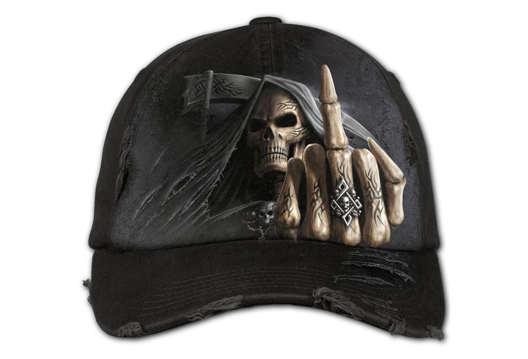 Spiral Direct | Bone Finger Distressed Baseball Cap - Front