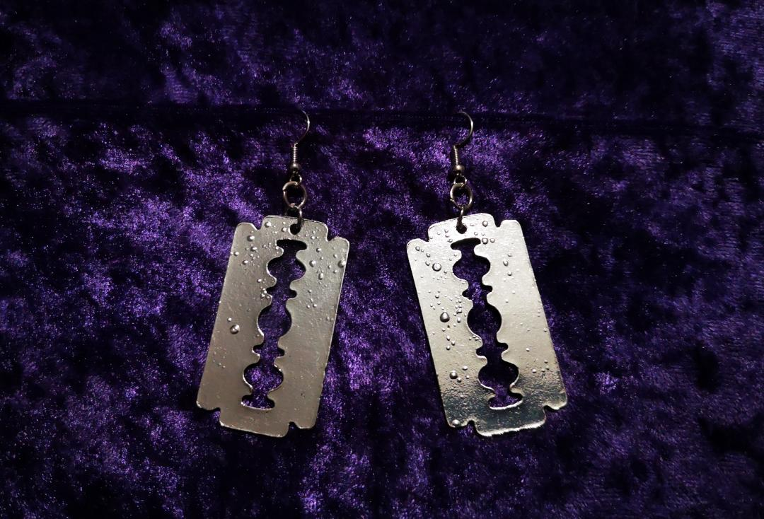 Void Clothing | Large Silver Razor Blade Earrings