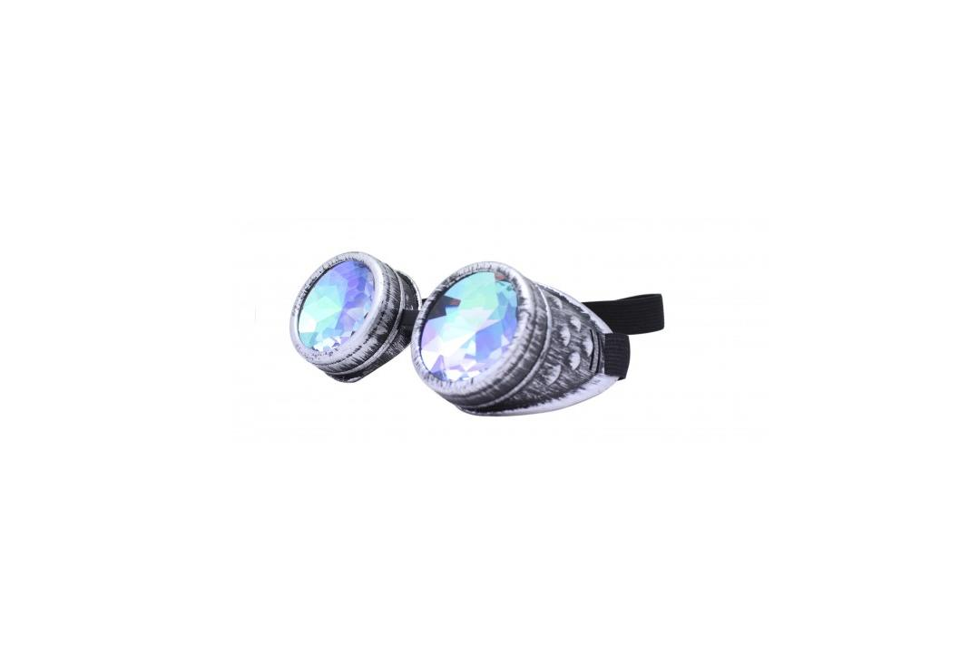 Void Clothing | Distressed Silver & Kaleidoscope Round Cyber Goggles