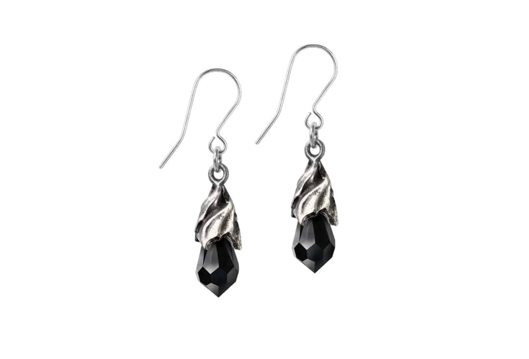 Alchemy Gothic | Empyrean Black Tear Droppers Earrings - Main
