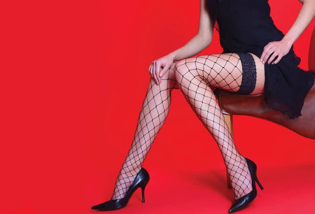 Silky | Whale Net Black Hold Up Stockings