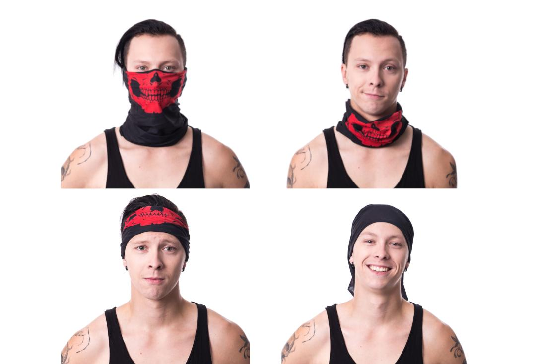 Poizen Industries | Red Skull 4-In-1 Snood - Collage