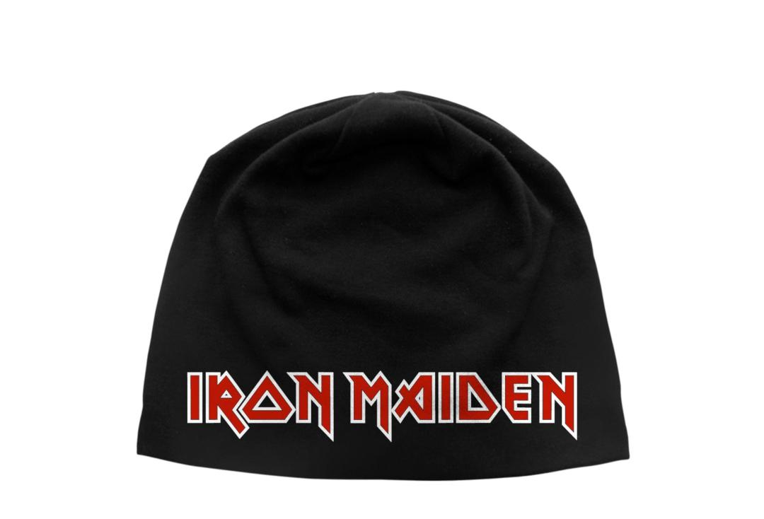 Official Band Merch | Iron Maiden - Logo Discharge Printed Jersey Beanie