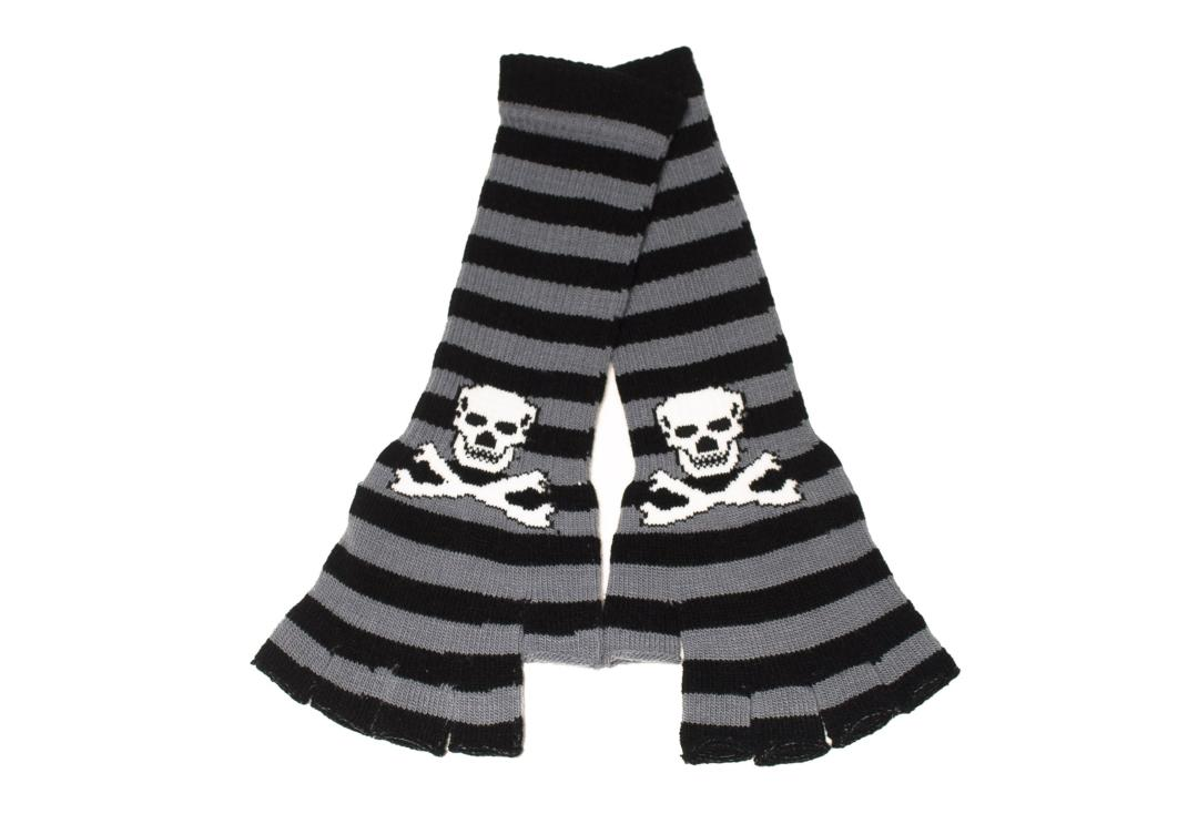 Zacharia | Grey & Black Stripe Skull Finger-less Gloves