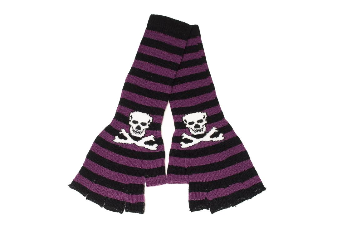 Zacharia | Purple & Black Stripe Skull Finger-less Gloves