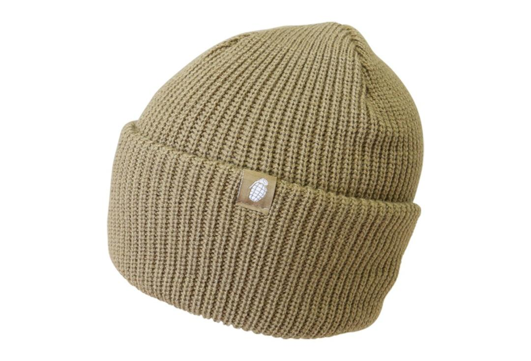 Kombat | Coyote Grenade Chunky Knit Beanie Hat - Folded