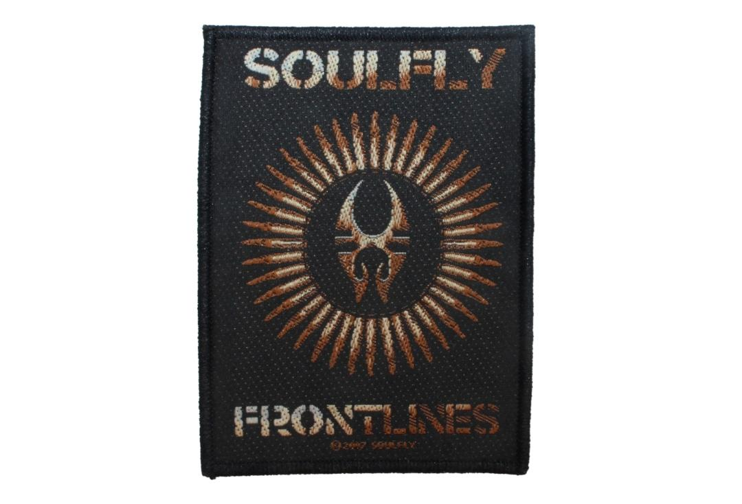 Official Band Merch | Soulfly - Frontlines Logo Woven Patch