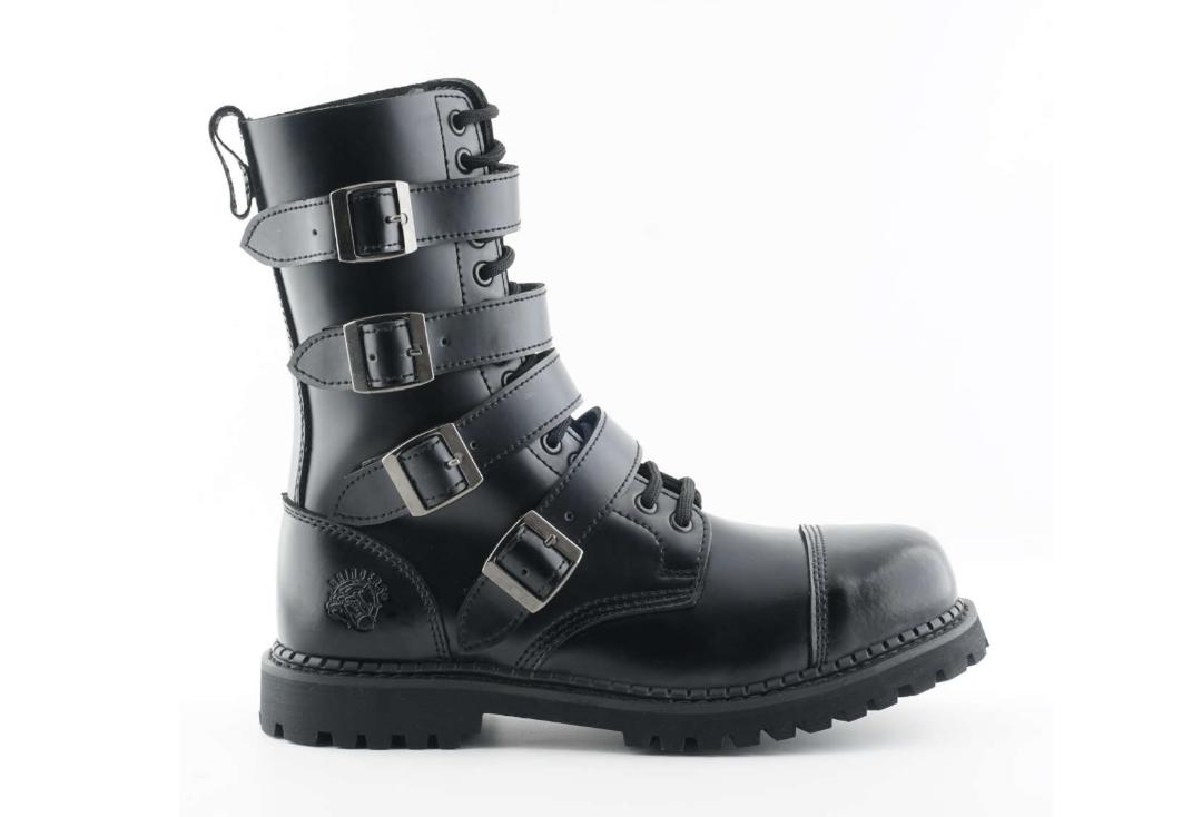 Grinders | Quad Men's Black Leather Boots - Side View