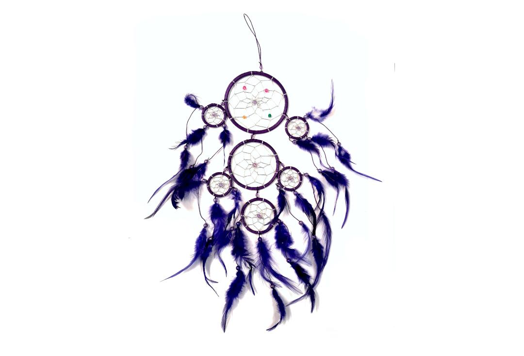Void Clothing | Purple Feather 7 Tiered Rings Dream Catcher