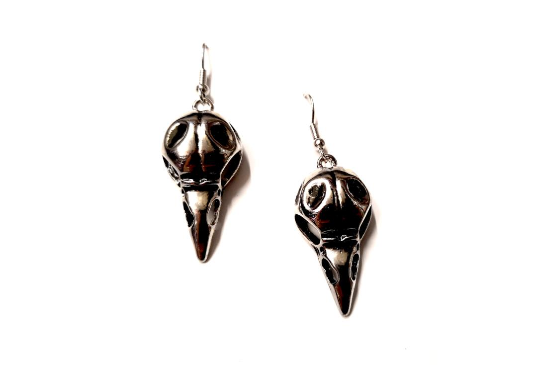 Void Clothing | Raven Skull Earrings - Front