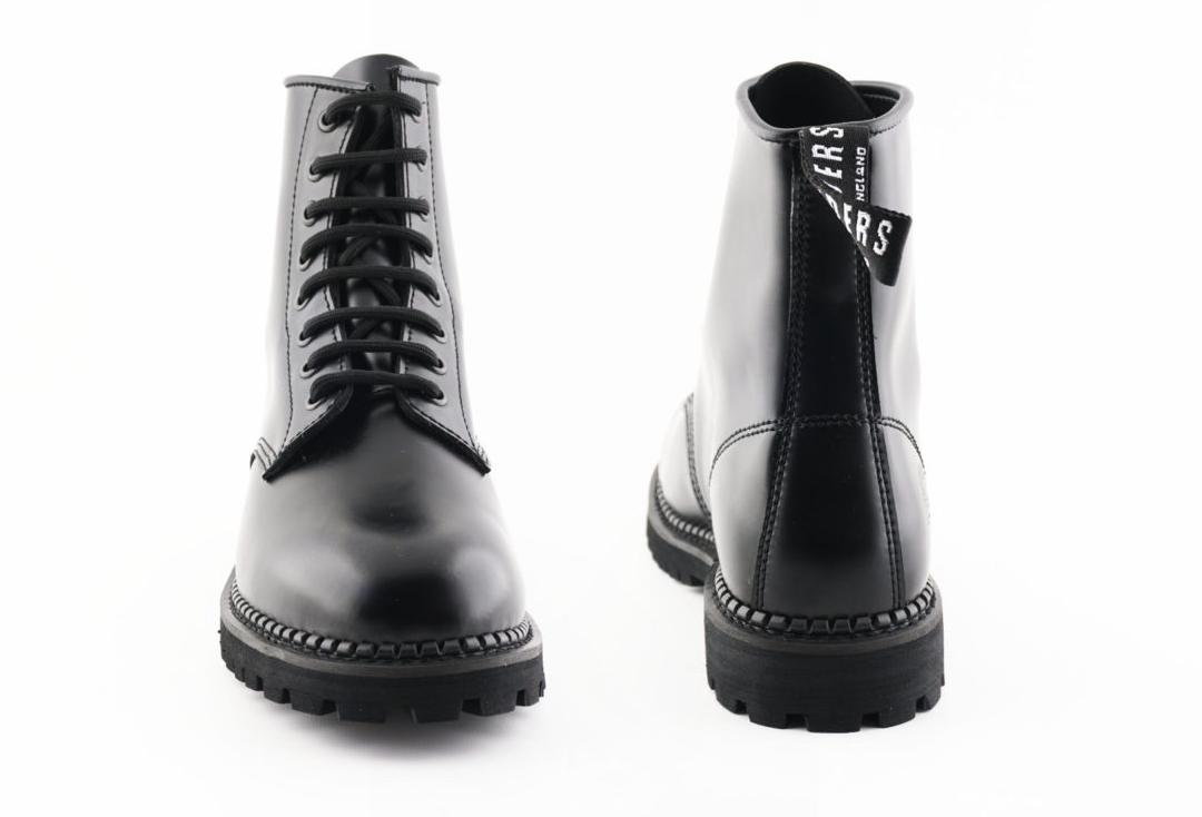 Grinders | Cedric Women's Black Leather Boots - Back & Front View