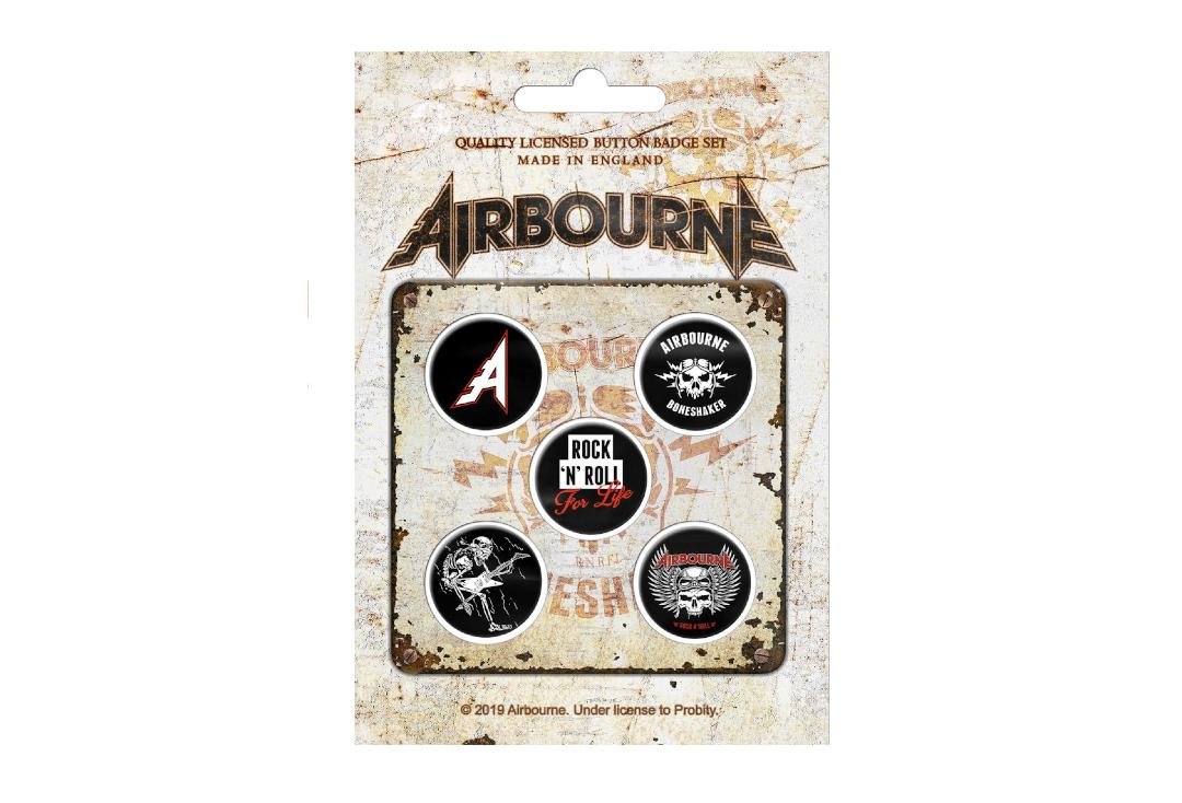 Official Band Merch | Airbourne - Boneshaker Button Badge Pack