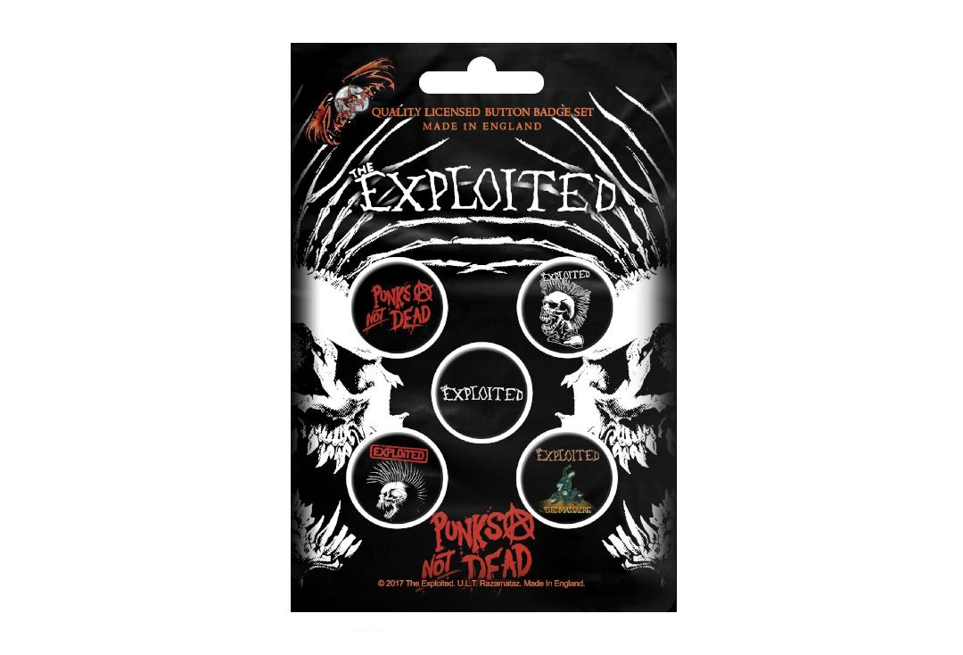 Official Band Merch | The Exploited - Punks Not Dead Button Badge Pack