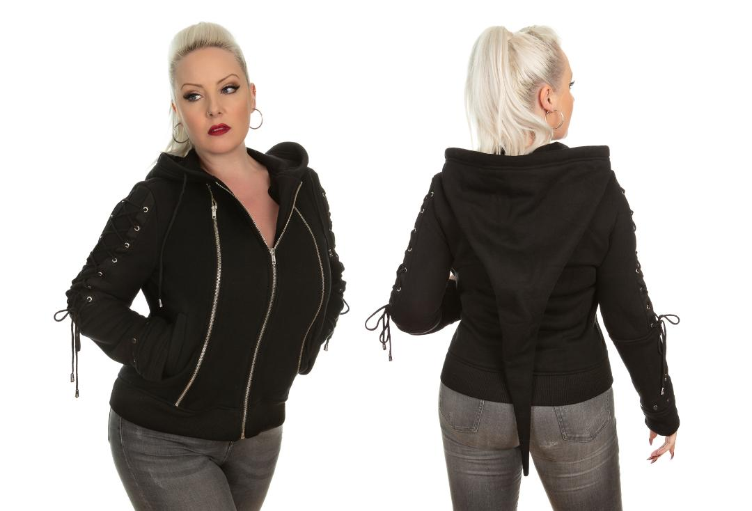 Hearts & Roses | Dark Night Zip Pixie Hood - Front & Back Modelled