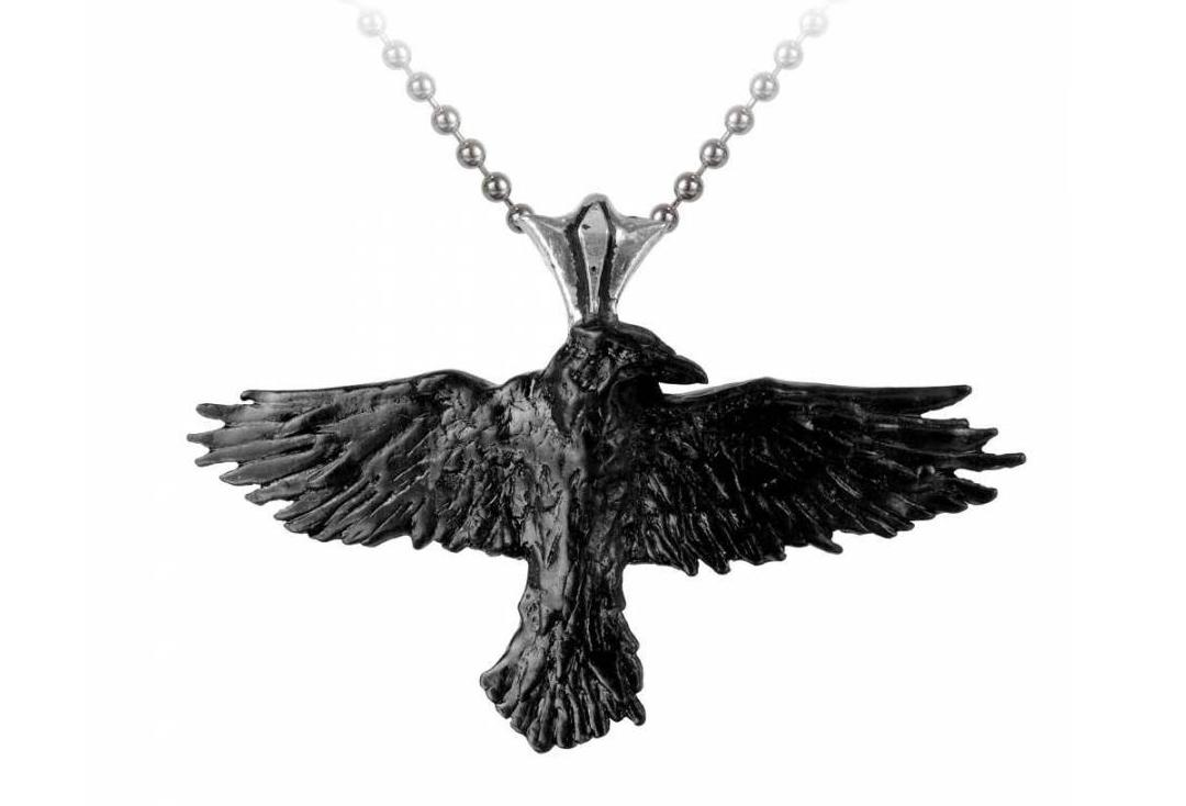 Alchemy Gothic | Black Raven Necklace - Front