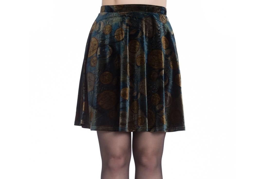 Hell Bunny | Fortuna Velvet Mini Skirt - Front