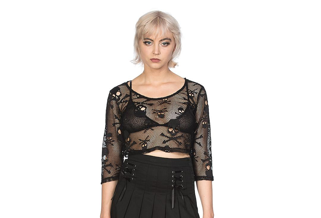 Banned Apparel | Skull Mesh Crop Top - Front