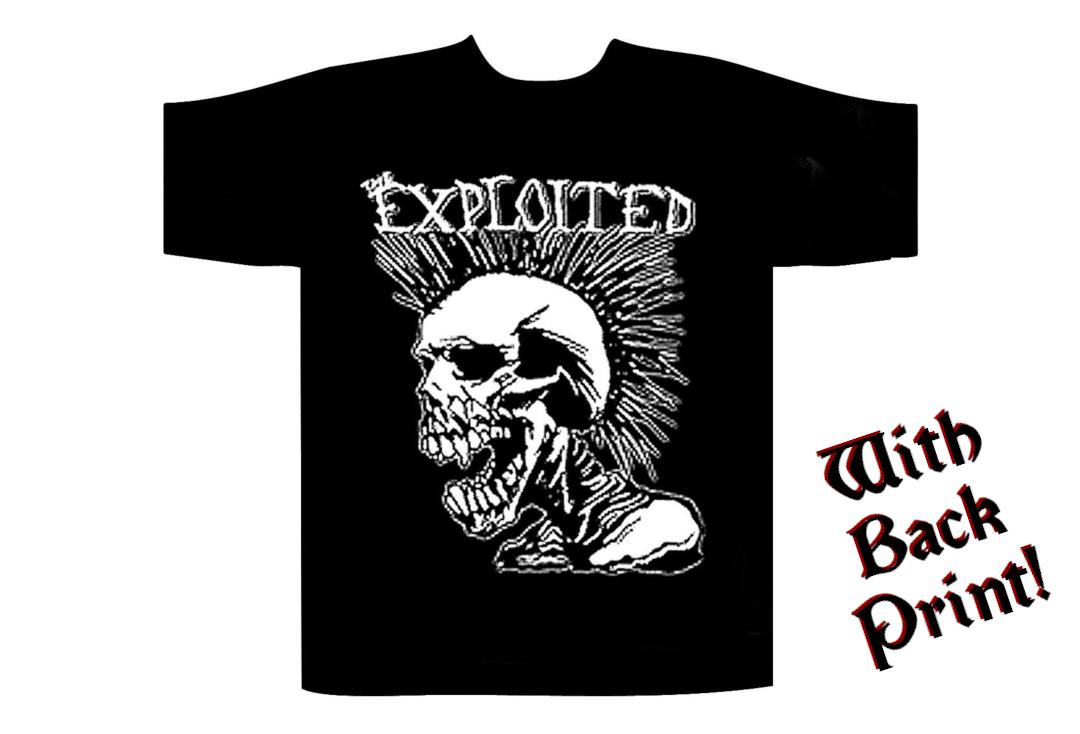 Official Band Merch | The Exploited - Mohican Skull Men's Short Sleeve T-Shirt  - Front