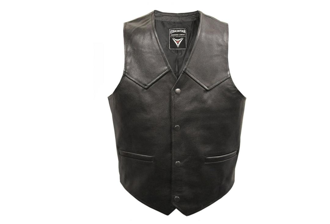 Skintan Leather | Black Leather Men's Plain Waistcoat - Front