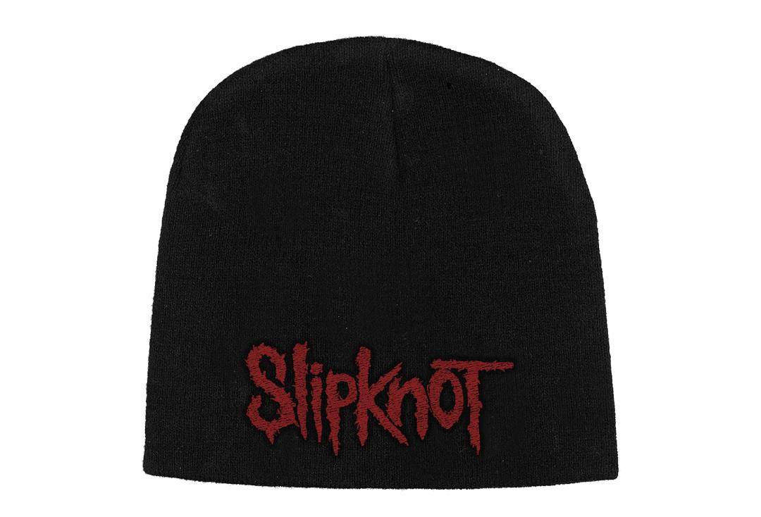 Official Band Merch | Slipknot - Red Logo Embroidered Knitted Beanie Hat