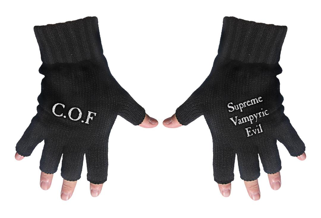 Official Band Merch | Cradle Of Filth - COF/Supreme Vampyric Evil Embroidered Knitted Finger-less Gloves