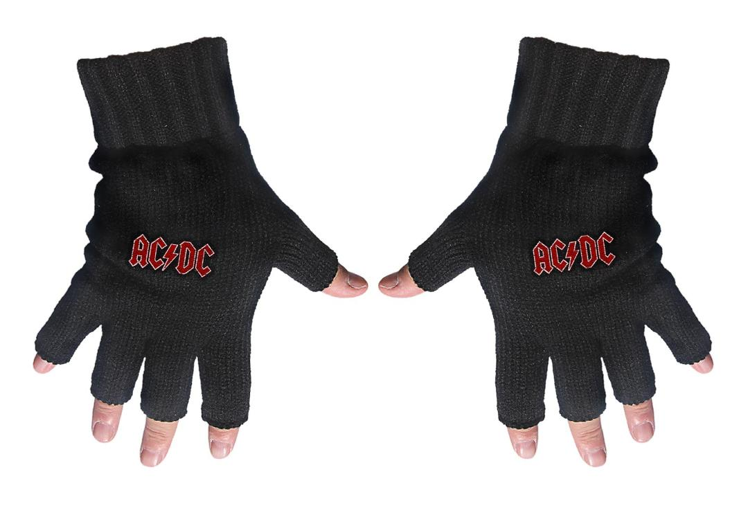 Official Band Merch | AC/DC - Red Logo Embroidered Knitted Finger-less Gloves