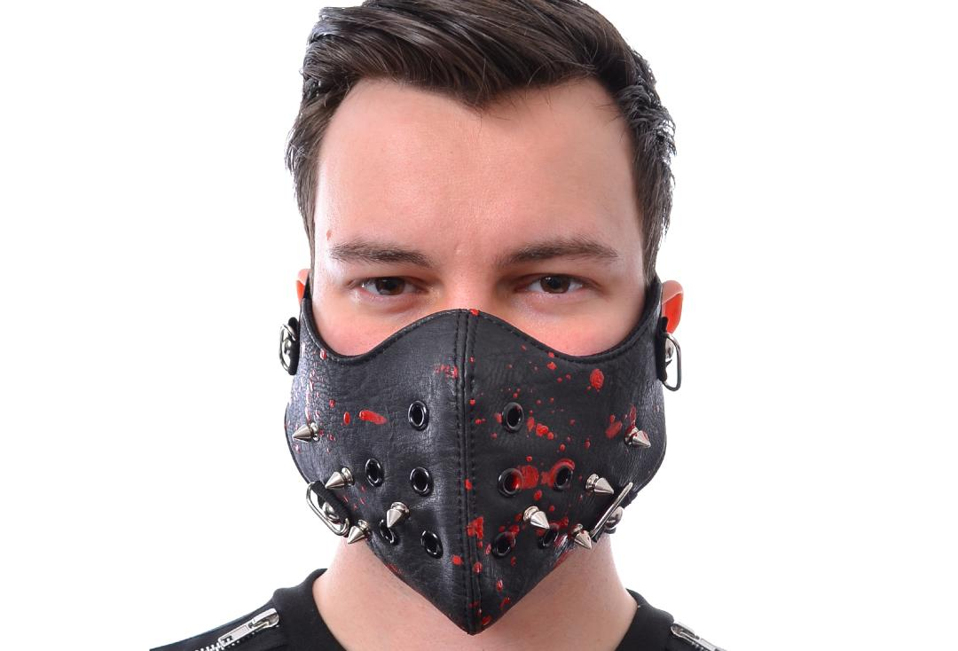 Poizen Industries | Spike Black Blood Splattered Face Mask - Modelled