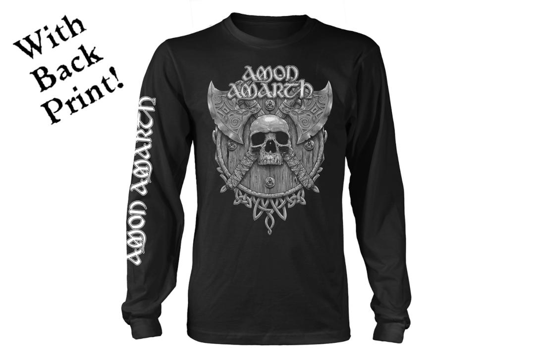 Official Band Merch | Amon Amarth - Grey Skull Men's Long Sleeve T-Shirt - Front